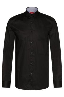 Unifarbenes Extra Slim-Fit Hemd aus Stretch-Baumwolle: 'Efin', Schwarz