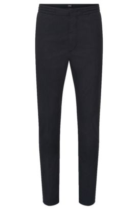 Slim-fit trousers in cotton blend with elasticated waistband: 'Kito-Drawstring-W', Dark Blue