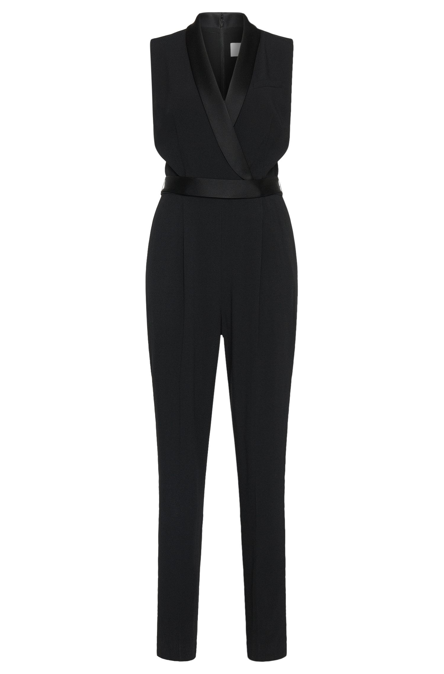 Jumpsuit with a plunging neckline and matching belt: 'Duxida'