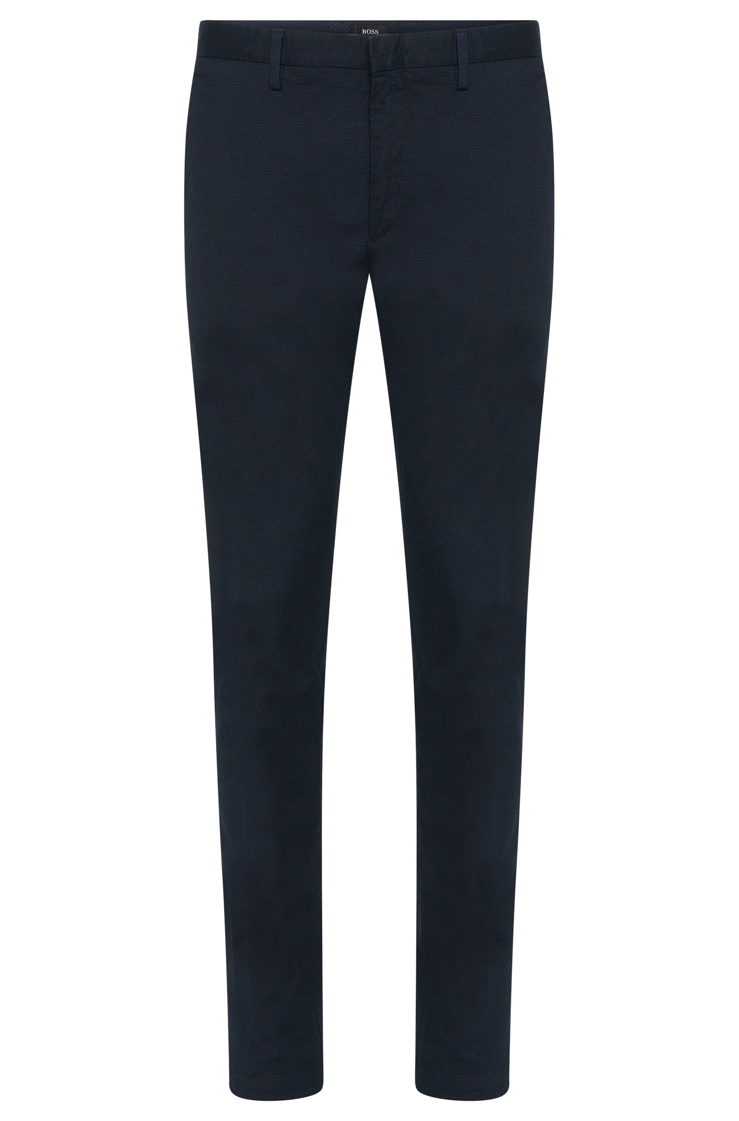 Chino Slim Fit en coton stretch au motif structuré discret : « Kaito3-W »