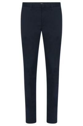 Chino Slim Fit en coton stretch au motif structuré discret: «Kaito3-W», Bleu foncé