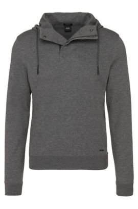 Regular-Fit Kapuzen-Sweatshirt aus Baumwoll-Mix: 'Seeger 02', Grau