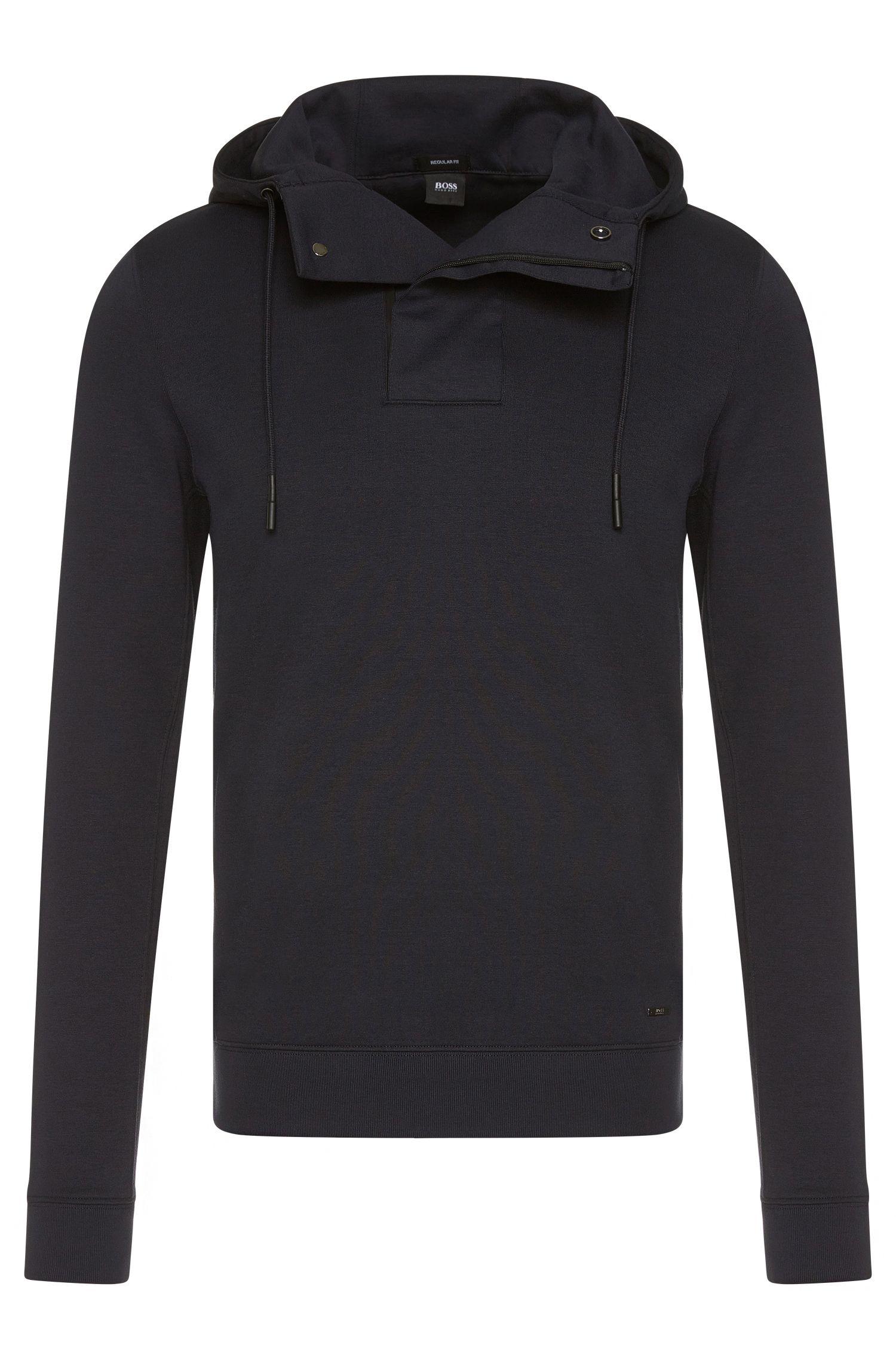 Regular-fit sweatshirt van een katoenmix met capuchon: 'Seeger 02'