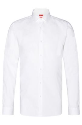 Plain slim-fit shirt in stretch cotton: 'Erondo', Open White