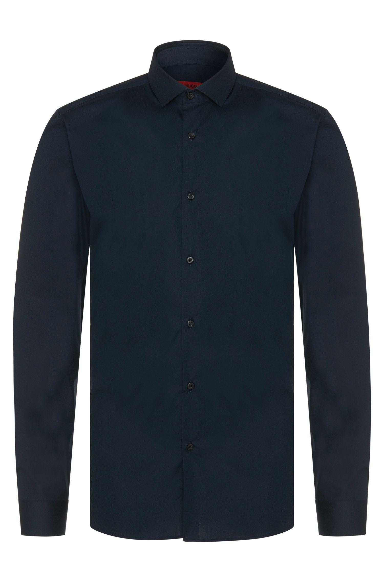 Plain slim-fit shirt in stretch cotton: 'Erondo'