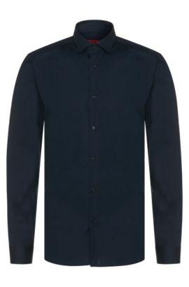 Camisa lisa slim fit en algodón elástico: 'Erondo', Azul oscuro