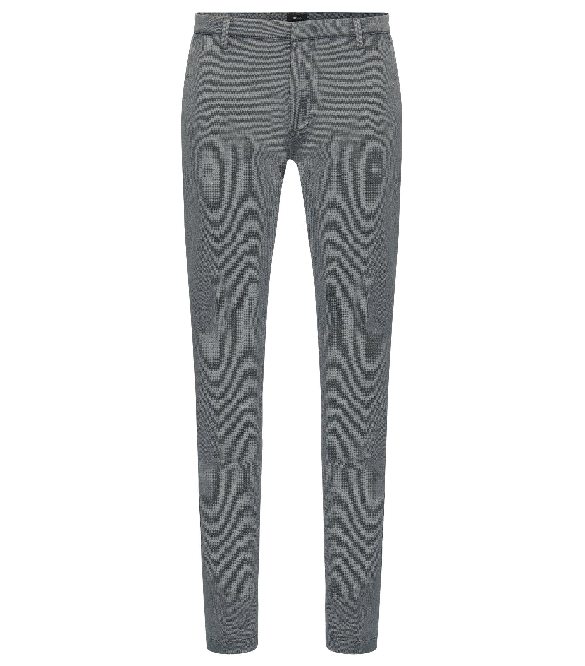 Slim-fit chinos in Italian stretch-cotton twill, Grey