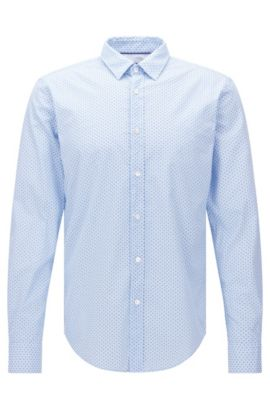Patterned slim-fit shirt in cotton: 'Ronni_44', Light Blue