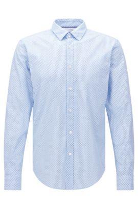 Gemustertes Slim-Fit Hemd aus Baumwolle: 'Ronni_44', Hellblau