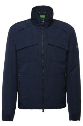 Bomber jacket in smooth fabric: 'Jido', Dark Blue