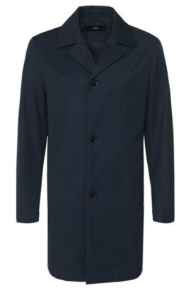 Slim-fit coat in water-repellent cotton blend: 'Dais11', Dark Blue