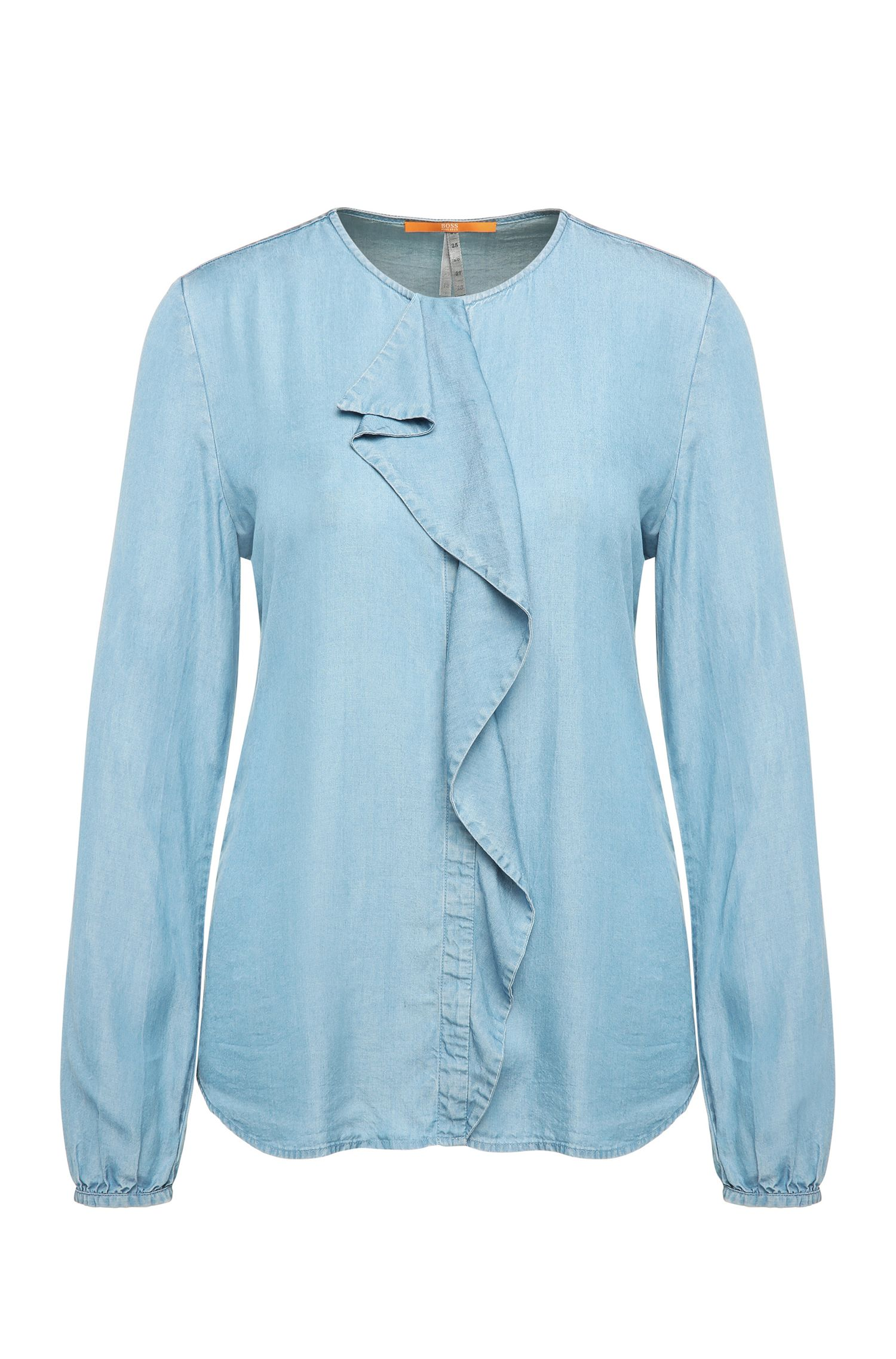 Denim-look blouse with flounce: 'Confet'