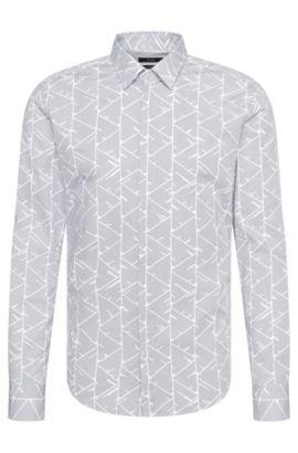 Camisa slim fit estampada en algodón: 'Reid_44H', Gris