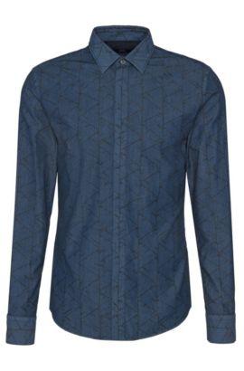 Camicia slim fit in cotone a disegni: 'Reid_44H', Blu scuro