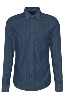 Slim-fit overhemd van katoen met dessin: 'Reid_44H', Donkerblauw