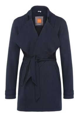 Regular-fit trench coat in fabric blend with viscose: 'Otrenchia', Dark Blue