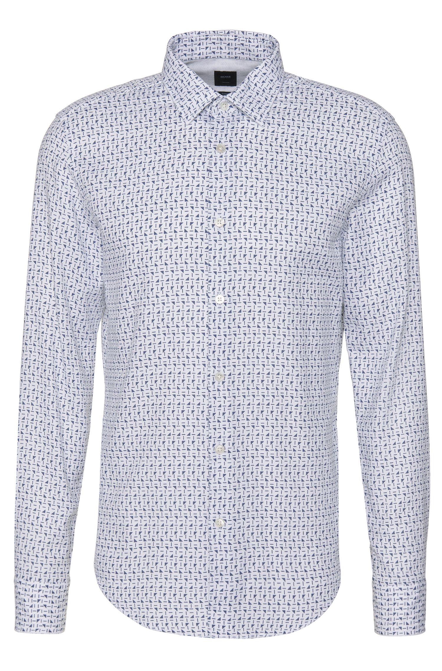 Slim-fit overhemd uit de Tailored-collectie, van katoen met all-over dessin: 'T-Ricardo_32F'