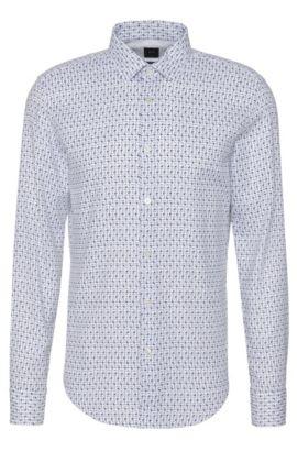 Slim-Fit Tailored Hemd aus Baumwolle mit Allover-Muster: 'T-Ricardo_32F', Weiß