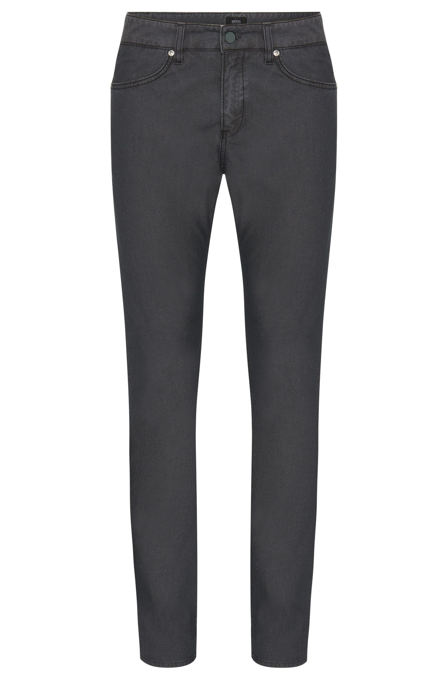 Finely textured slim-fit trousers in a stretchy cotton blend: 'Delaware3-20'