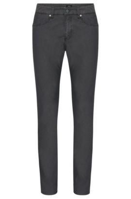 Finely textured slim-fit trousers in a stretchy cotton blend: 'Delaware3-20', Grey