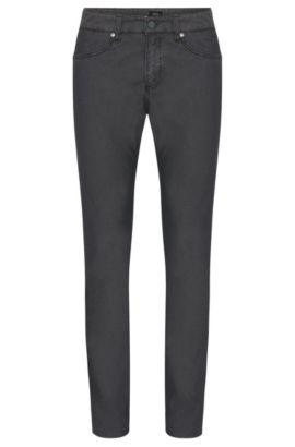 Pantalon Slim Fit finement structuré en coton mélangé extensible: «Delaware3-20», Gris