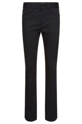 Pantalon Slim Fit structuré en coton stretch : « Delaware4-20 », Bleu foncé