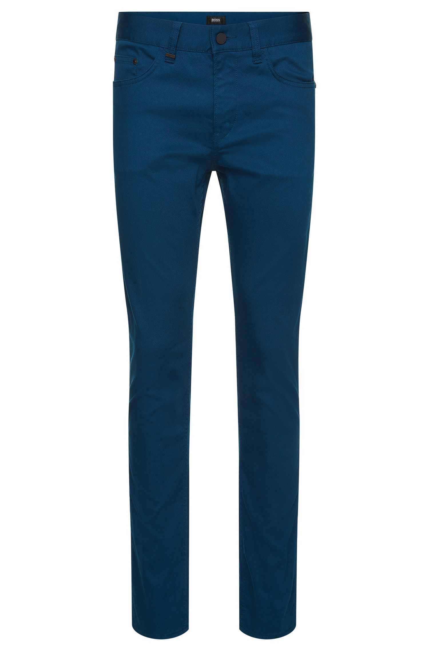 Pantalon Slim Fit structuré en coton stretch : « Delaware4-20 »