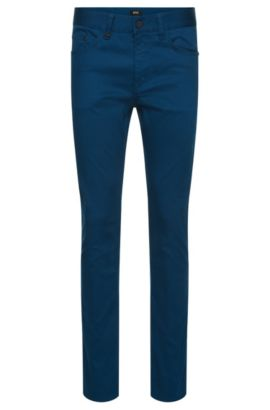Pantalon Slim Fit structuré en coton stretch : « Delaware4-20 », Bleu vif