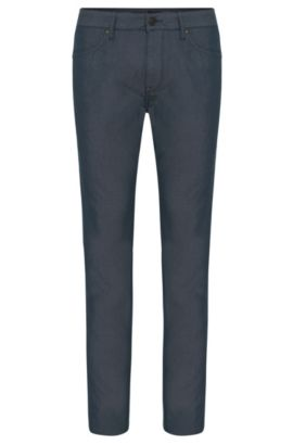 Finely patterned regular-fit jeans in stretch cotton blend: 'Maine3-20', Dark Blue
