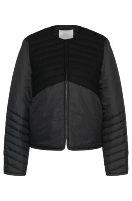 Jacket in a mixture of textures with trim in wool blend with silk: 'Pecka', Black