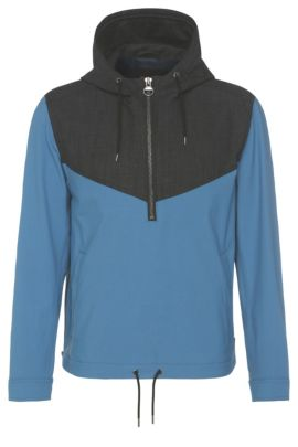 2-tone hoodie jacket in stretch fabric: 'Odet', Open Blue