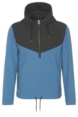 Zweifarbige Hoodie-Jacke aus elastischem Gewebe: ´Odet`, Hellblau
