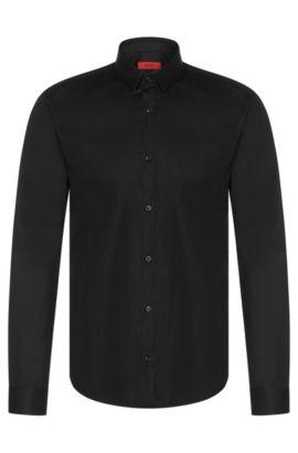Unifarbenes Slim-Fit Hemd aus Stretch-Baumwolle: 'Ero3', Schwarz
