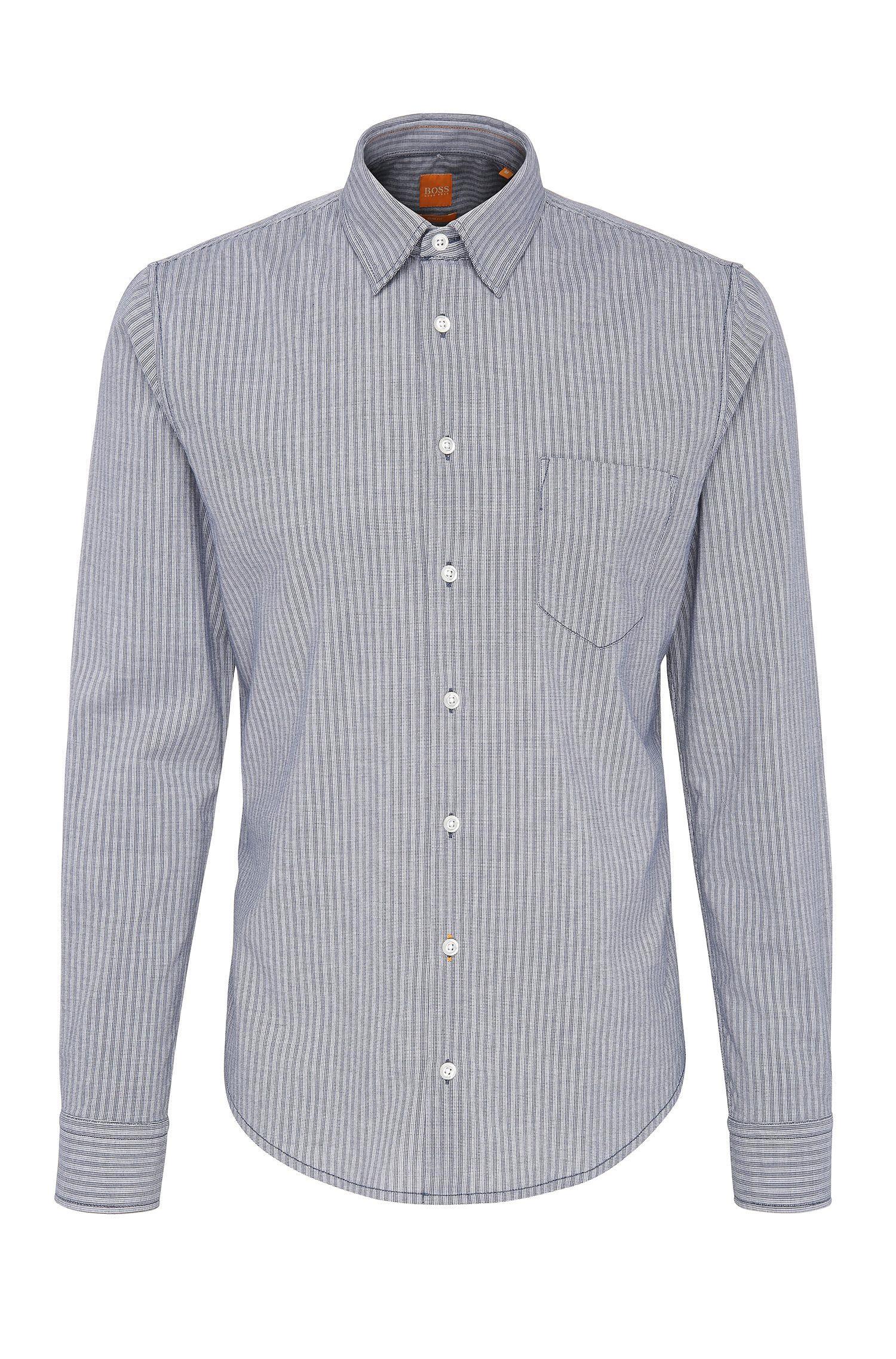 Slim-Fit Hemd aus Baumwolle mit Streifen: ´EnameE_1`