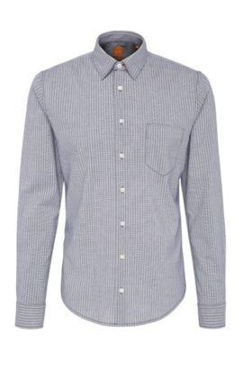 Camicia slim fit in cotone a righe: 'EnameE_1', Blu scuro