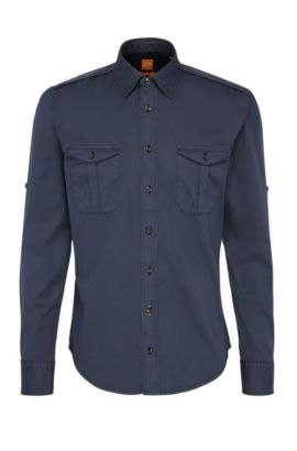 Slim-fit worker's shirt in cotton: 'CadettoE', Dark Blue