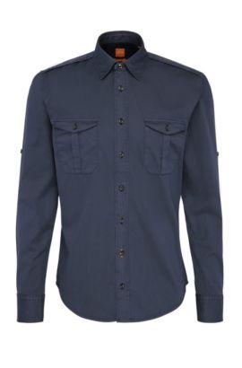 Slim-Fit Worker-Hemd aus Baumwolle: ´CadettoE`, Dunkelblau