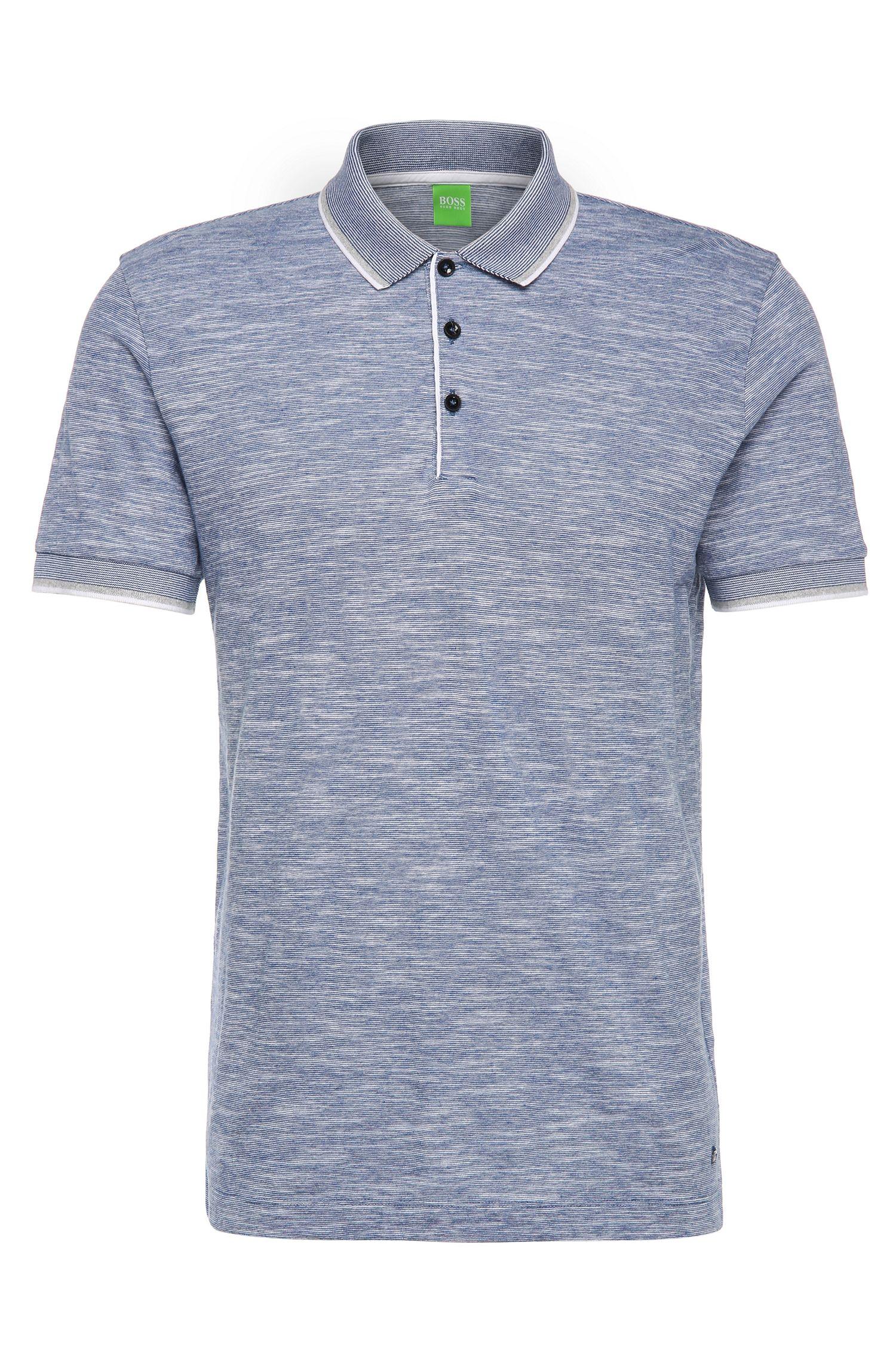 Slim-Fit Poloshirt aus Baumwoll-Mix in Melange-Optik: ´C-Padria`