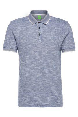Polo Slim Fit en coton mélangé à effet chiné: «C-Padria», Bleu vif