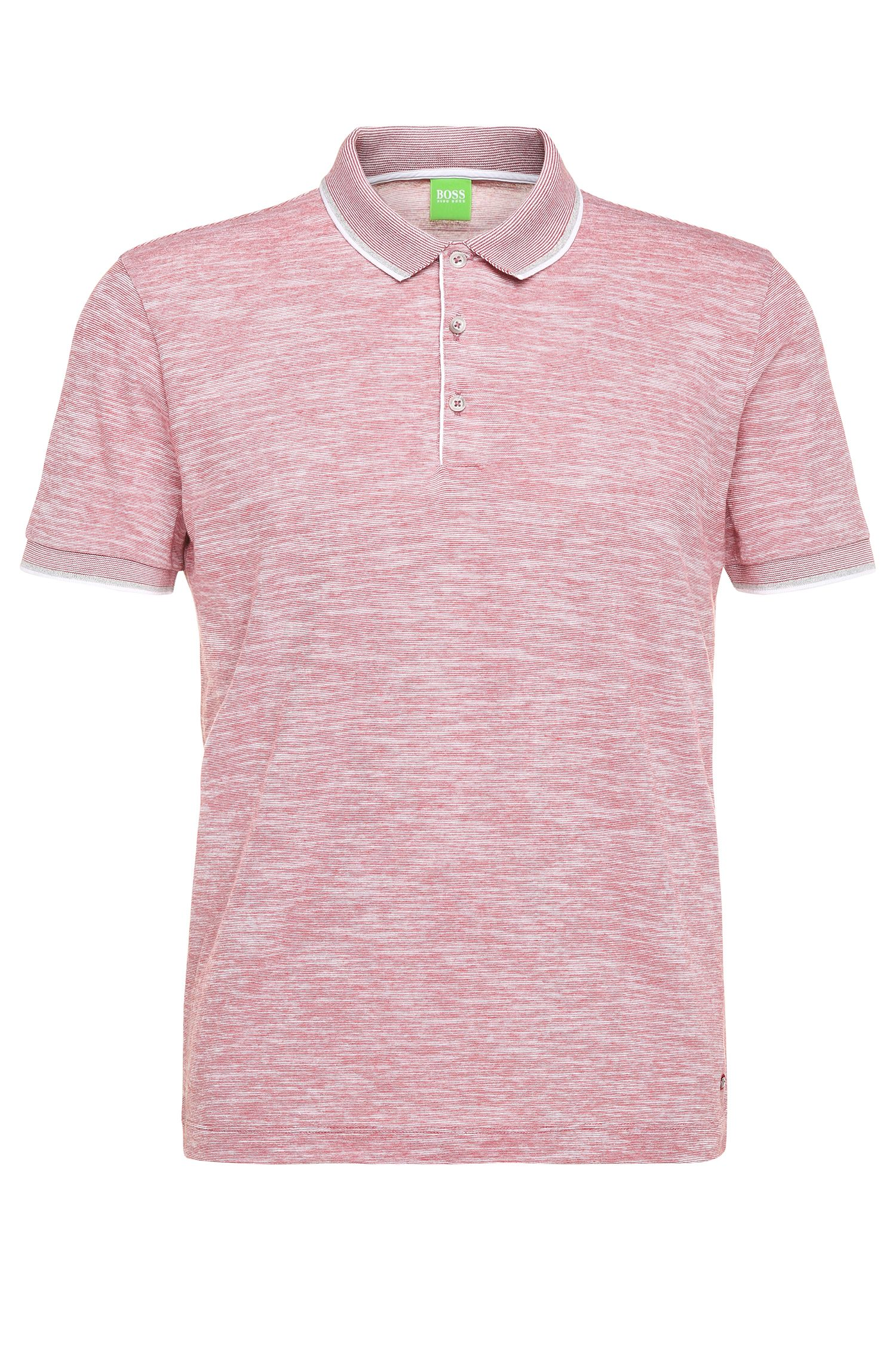 Slim-Fit Poloshirt aus Baumwoll-Mix in Melange-Optik: ´C-Padria`