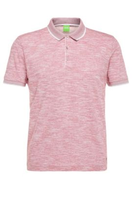 Slim-Fit Poloshirt aus Baumwoll-Mix in Melange-Optik: ´C-Padria`, Hellrot