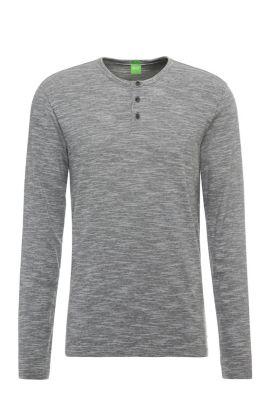 Gemêleerd slim-fit shirt van een katoenmix met lange mouwen: 'C-Veneto', Antraciet