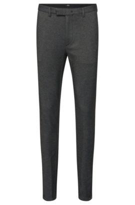 Pantaloni slim fit mélange in misto cotone con dettagli con zip: 'Kaito3-6-W', Nero