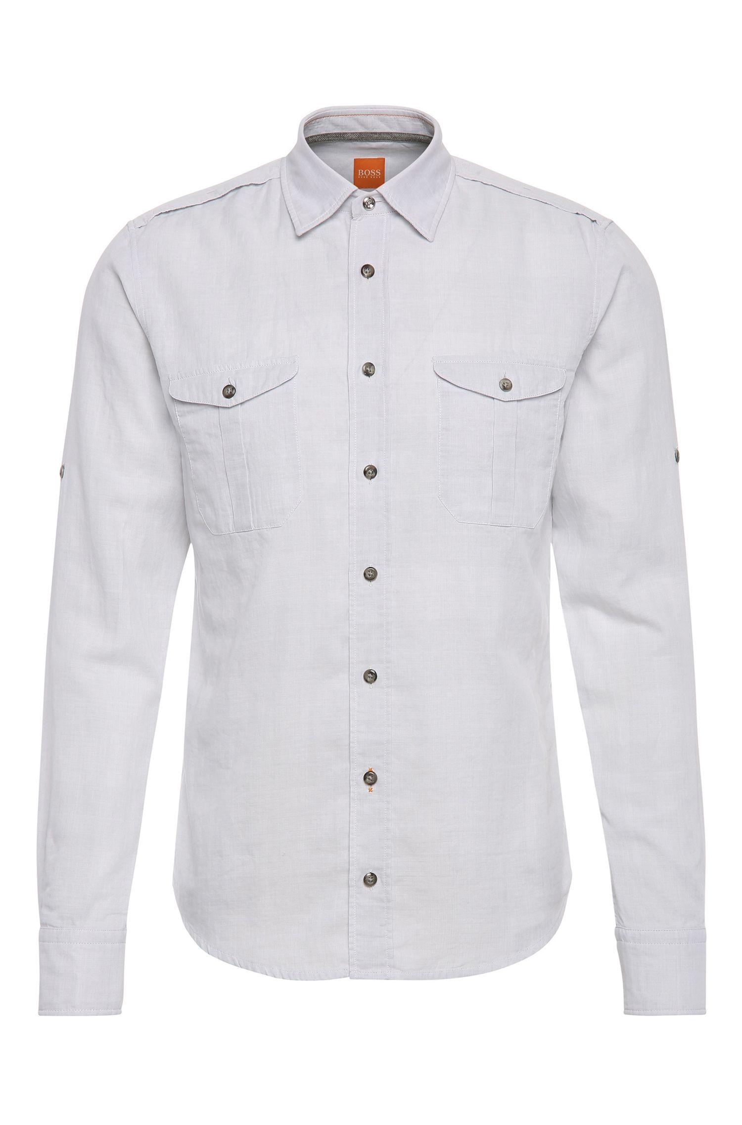 Camisa slim fit en algodón con textura: 'CadettoE'