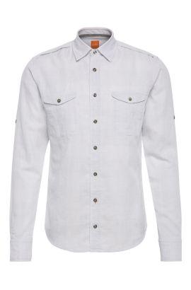 Camisa slim fit en algodón con textura: 'CadettoE', Gris claro