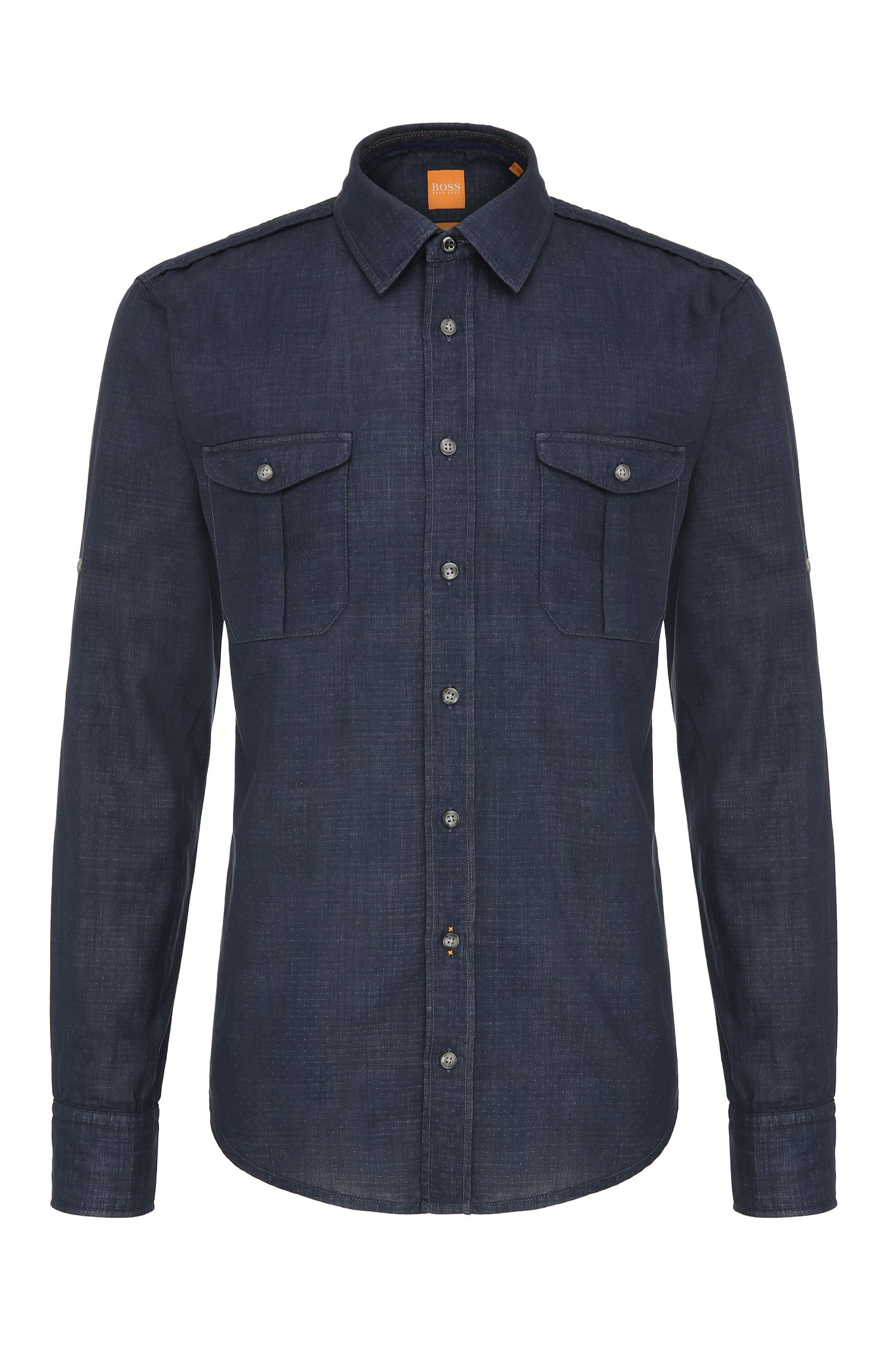 Slim-fit shirt in textured cotton: 'CadettoE'