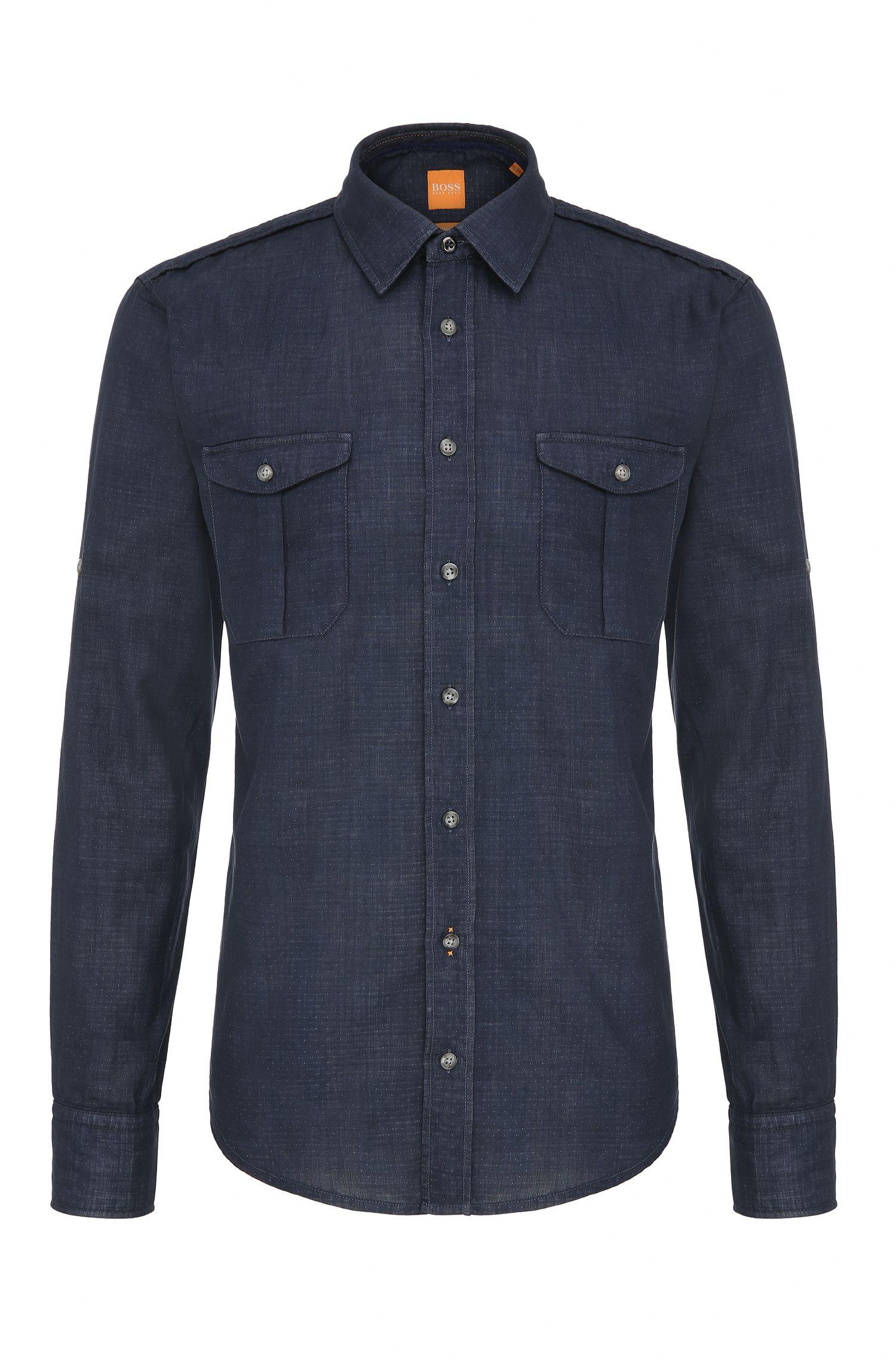 Slim-Fit Hemd aus strukturierter Baumwolle: ´CadettoE`