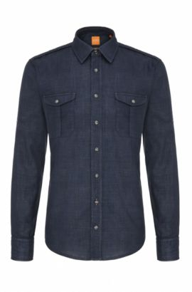 Slim-fit shirt in textured cotton: 'CadettoE', Open Blue
