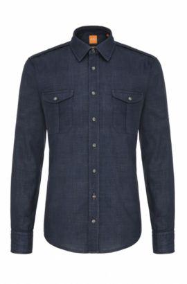 Slim-fit overhemd van gestructureerde katoen: 'CadettoE', Lichtblauw