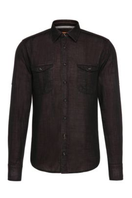 Slim-fit shirt in textured cotton: 'CadettoE', Red